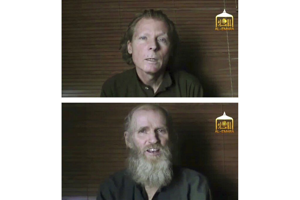 This two photo combination image taken from video released on June 21, 2017, by Taliban spokesman Zabihullah Mujahid, shows kidnapped teachers Australian Timothy Weekes, top, and American Kevin King, who were both abducted by the insurgents in Afghanistan in August 2016.